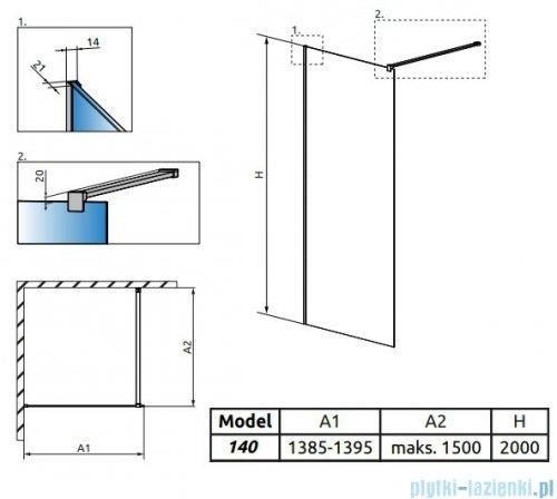 Radaway Modo X II kabina Walk-in 140x200 szkło przejrzyste 10mm 389344-01-01