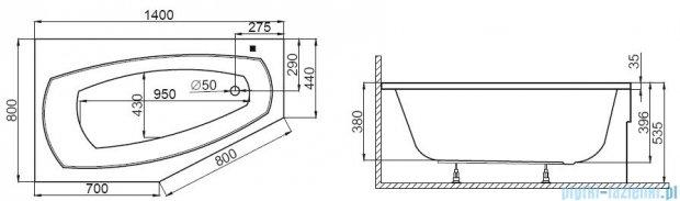 Polimat Marika wanna asymetryczna 140x80 cm lewa 00682