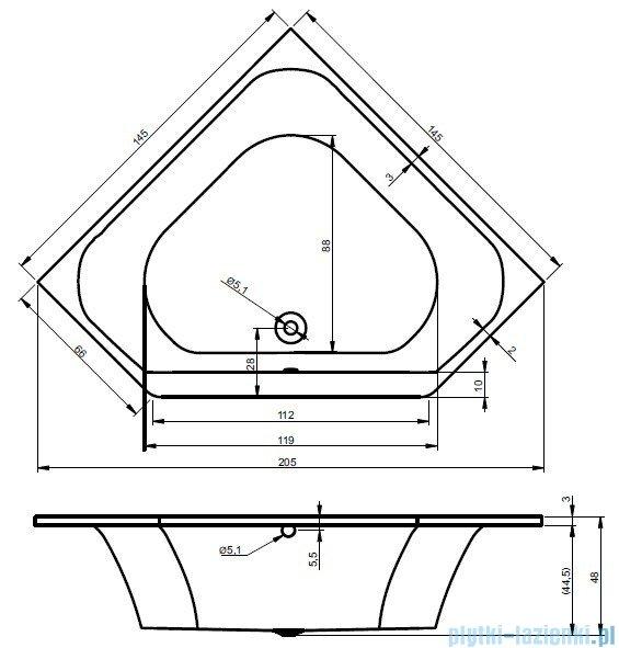 Riho Austin wanna symetryczna 145x145 z hydromasażem LUX Hydro 4+4+2/Aero19 BA11L8