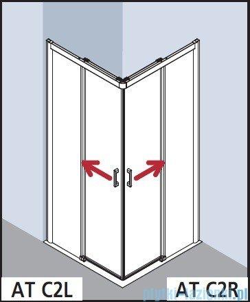Kermi Atea Wejście narożne lewe, połowa kabiny, szkło przezroczyste KermiClean, profile białe 80x185cm ATC2L080182PK