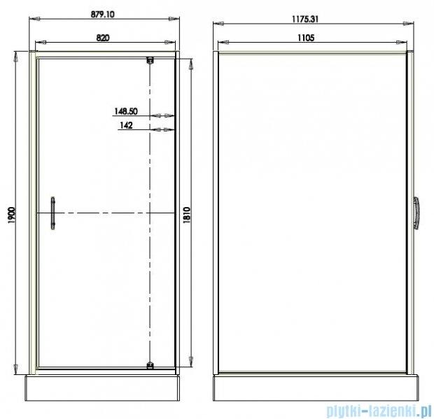 Omnires S kabina prostokątna 90x120x190cm szkło brązowe S-90/120KBR