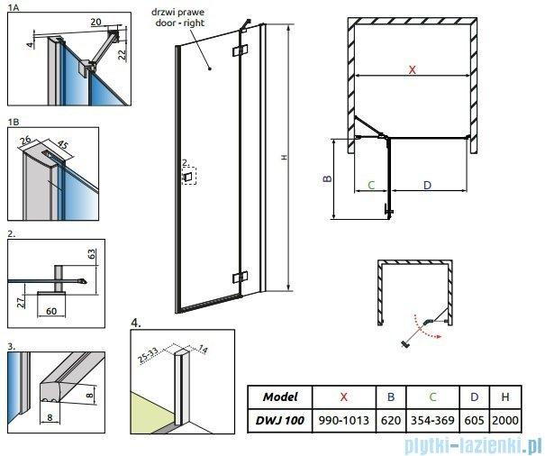 Radaway Essenza New Dwj drzwi wnękowe 100cm prawe szkło przejrzyste 385014-01-01R