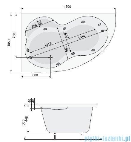 Poolspa Wanna asymetryczna MISTRAL 170x105 lewa + hydromasaż Smart 2 PHA3X10ST2C0000