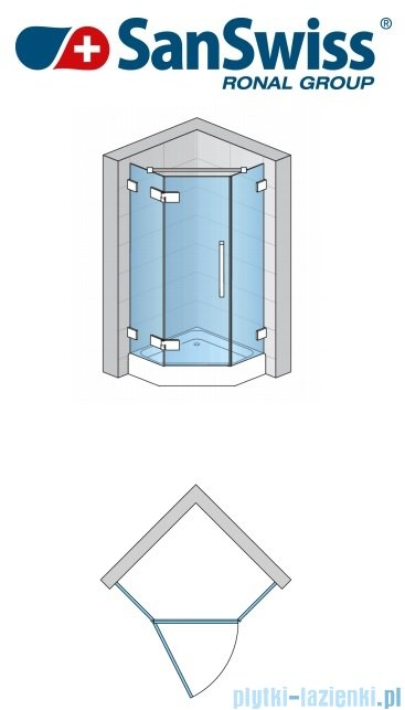 SanSwiss Pur PUR51 Drzwi 1-częściowe do kabiny 5-kątnej 45-100cm profil chrom szkło Efekt lustrzany Lewe PUR51GSM11053
