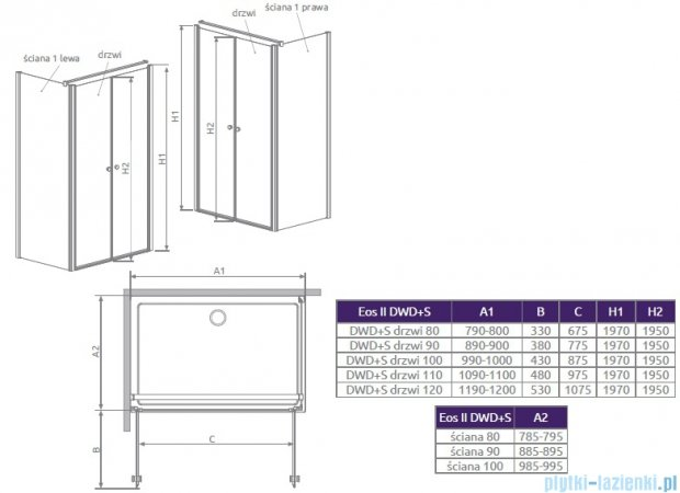Radaway Eos II S1 Ścianka boczna 90x197 lewa szkło przejrzyste 3799411-01L