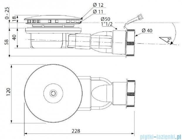 Radaway Syfon R400 SLIM niski do brodzików z otworem odpływowym Ø 90mm