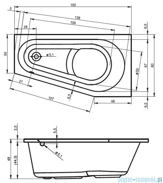 Riho Delta wanna asymetryczna lewa 150x80 z hydromasażem TOP Hydro 6+4+2/Aero11 BB81T5