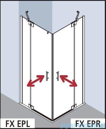 Kermi Filia Xp Wejście narożne, jedna połowa, prawa, szkło przezroczyste KermiClean, profil srebro 120x200cm FXEPR12020VPK