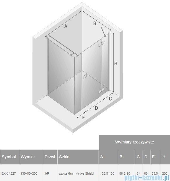 New Trendy Reflexa Plus 130x90x200 cm kabina prostokątna prawa przejrzyste EXK-1227