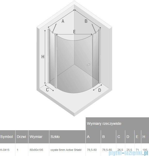 New Trendy New Soleo kabina półokrągła R55 80x80x195 cm przejrzyste K-0415