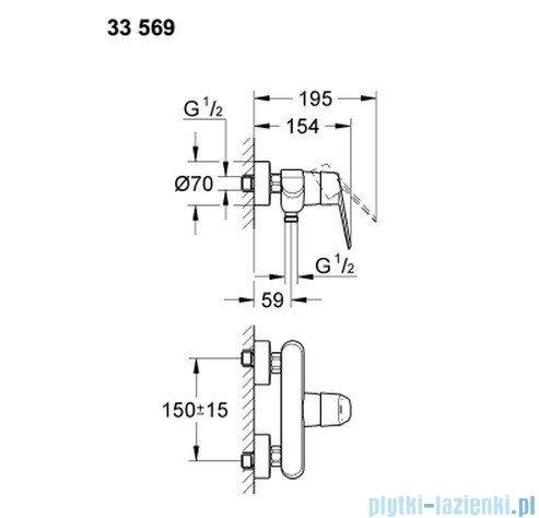 Grohe Eurodisc Cosmopolitan jednouchwytowa bateria prysznicowa 33569002