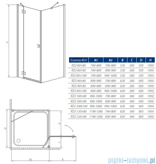 Radaway Kabina prysznicowa Essenza KDJ 90x100 prawa szkło brązowe 32848-01-08NR
