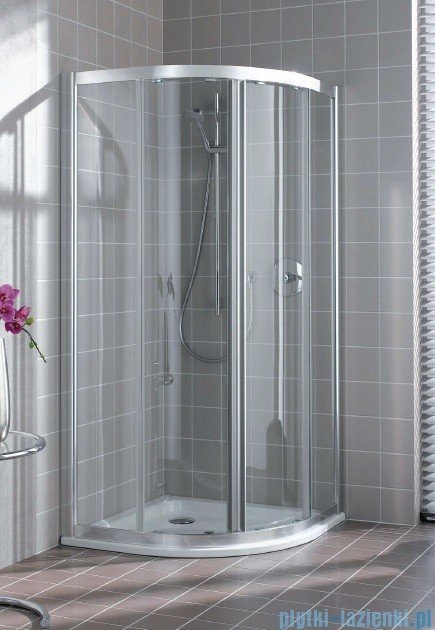 Kermi Atea Kabina ćwierćkolista, drzwi przesuwne, szkło przezroczyste, profile srebrne 90x90cm ATQ1009018VAK