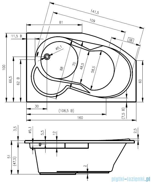 Riho Nora wanna asymetryczna lewa 160x100 z hydromasażem PRO Hydro 6+4+2 BA75P6