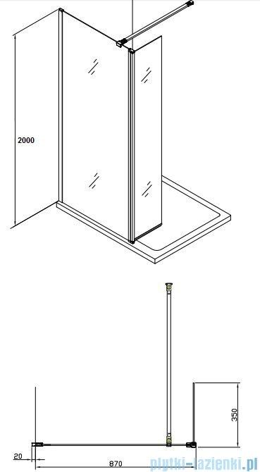 Alterna kabina typu walk-in 90x200 cm przejrzysta ALTN-195220