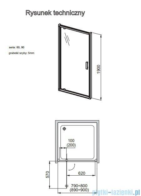 Aquaform Verra Line drzwi uchylne do wnęki 90cm przejrzyste 103-09324