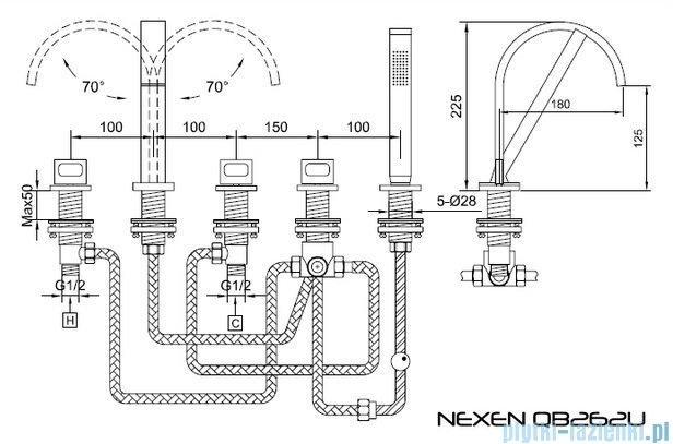 Kohlman Nexen-S 5-otworowa bateria wannowa SQB262U