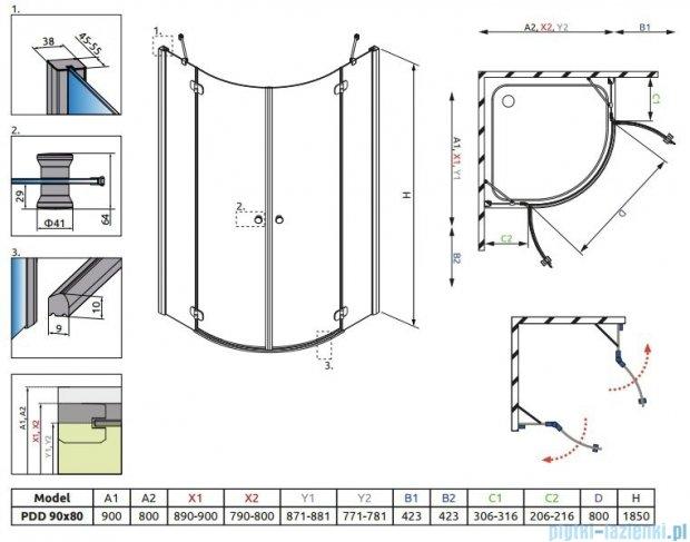 Radaway Torrenta PDD E Kabina prysznicowa 90x80 szkło przejrzyste + Brodzik Siros E Compact prawy + syfon 31630-01-01N