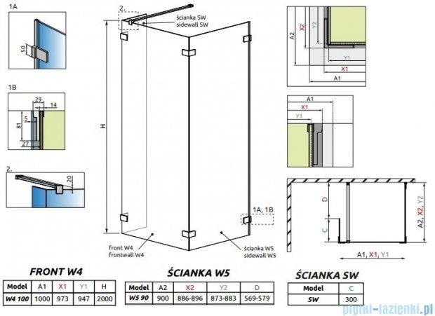 Radaway Euphoria Walk-in IV kabina 100x90cm szkło przejrzyste 383142-01-01/383151-01-01/383160-01-01