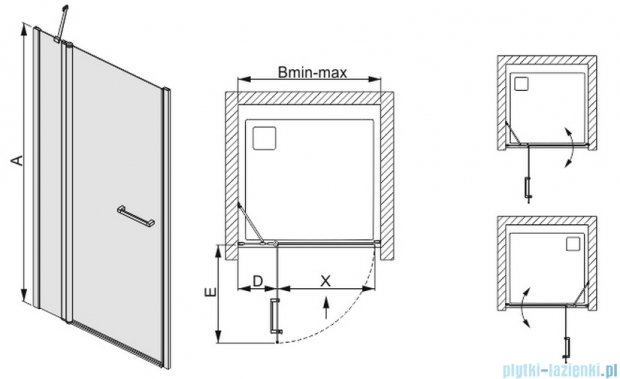 Sanplast drzwi skrzydłowe szkło: przejrzyste  DJ2/PRIII-120    600-073-0830-01-401