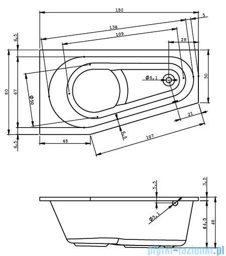 Riho Delta Wanna asymetryczna 150x80 BB80 Prawa