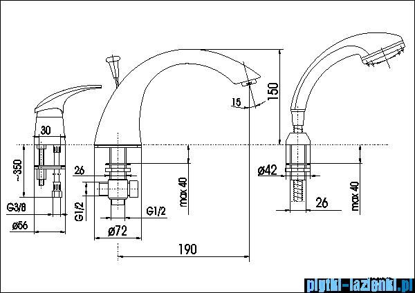 KFA AMETYST bateria wannowa trójotworowa CHROM   405-210-00