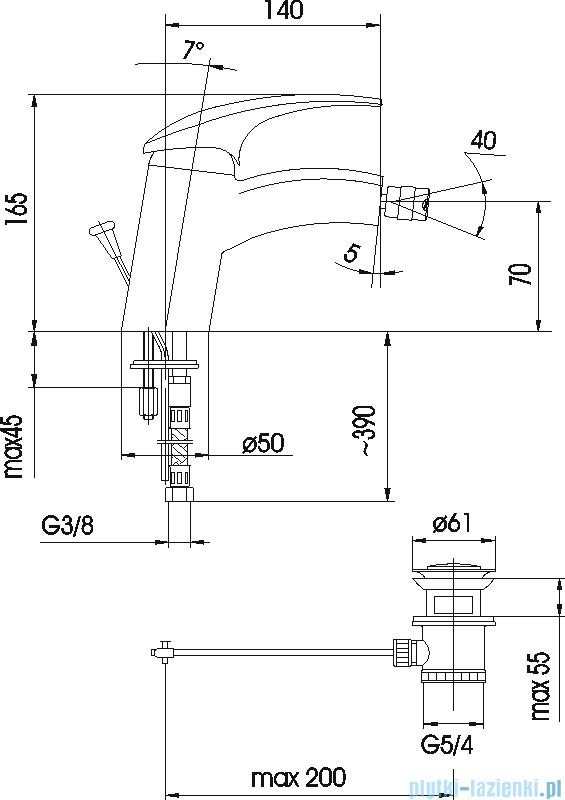 KFA AMETYST bateria bidetowa CHROM 407-015-00