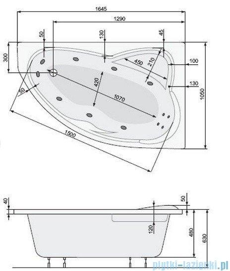 Poolspa Wanna asymetryczna EUROPA 165x105 lewa + hydromasaż Smart 2 PHA4810ST2C0000