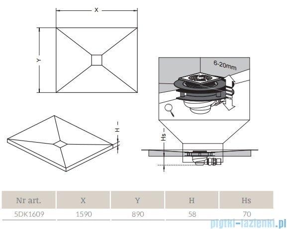 Radaway prostokątny brodzik podpłytkowy z kratką odpływową 159x89cm 5DK1609,5K01,5SK1