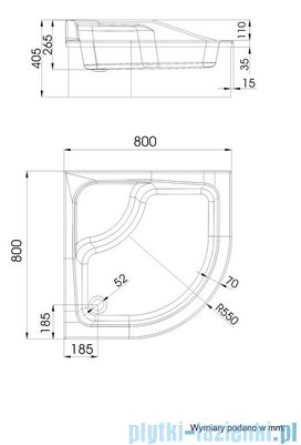 Schedpol Go Baby Brodzik półokrągły z siedziskiem 80x80x26cm 3.038