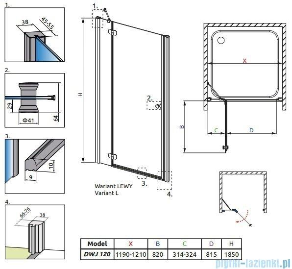Radaway Torrenta DWJ drzwi wnękowe 120 lewe szkło przejrzyste 31930-01-01N