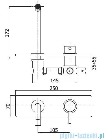 Paffoni  Light bateria Jednouchwytowa podtynkowa umywalkowa L-175 mm chrom LIG101