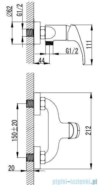 Omnires Parana bateria natryskowa chrom PN6240