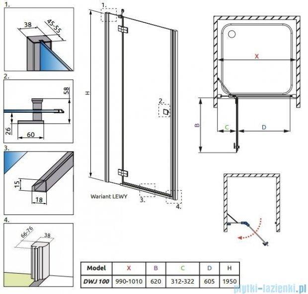 Radaway Almatea DWJ Drzwi wnękowe 100 Lewe szkło brązowe 31202-01-08N