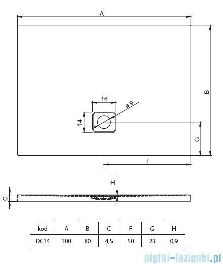Riho Basel 404 brodzik prostokątny czarny połysk 100x80x4,5cm DC1416