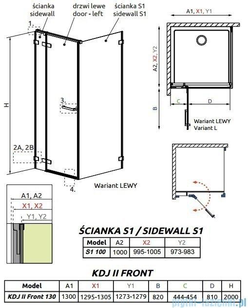 Radaway Arta Kdj II kabina 130x100cm lewa szkło przejrzyste 386457-03-01L/386045-03-01L/386022-03-01