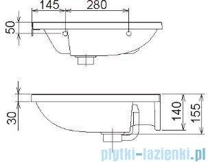 Ravak Umywalka BeHappy 57x50 cm lewa z otworami XJAL1100000