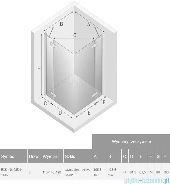 New Trendy Modena kabina 110x140cm przejrzyste EXK-1019/EXK-1136
