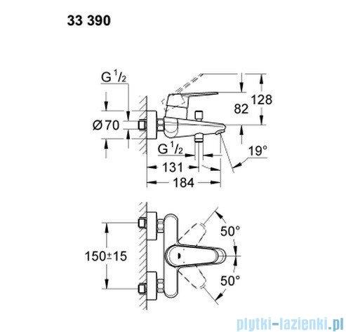 Grohe Eurodisc Cosmopolitan jednouchwytowa bateria wannowa 33390002
