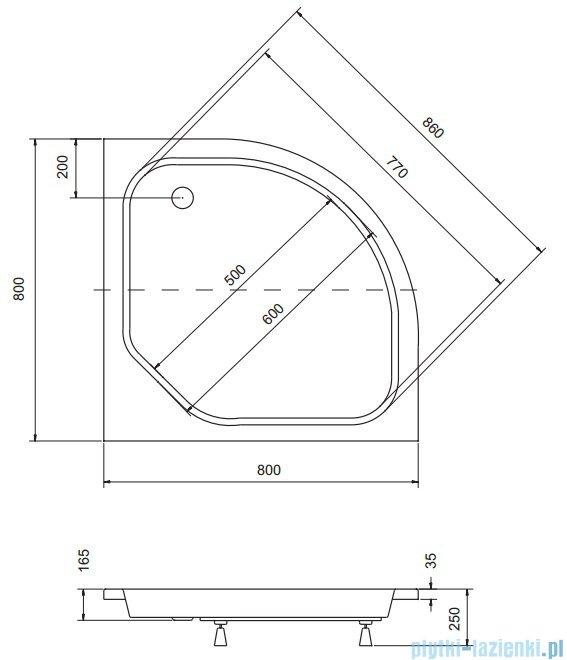 Sea Horse Sigma zestaw kabina natryskowa półokrągła - niska 80x80 chinchilla + brodzik BKZ1/3/K