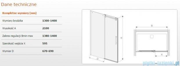 Sanplast drzwi przesuwne D2/ALTIIa-130-140 130-140x210 cm przejrzyste 600-121-1531-42-401