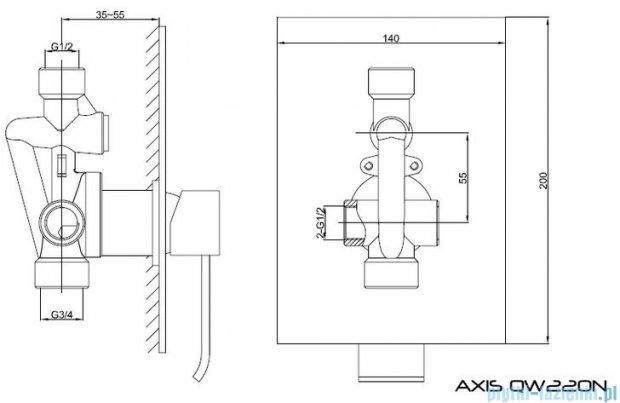 Kohlman Axis podtynkowa bateria prysznicowa QW220N