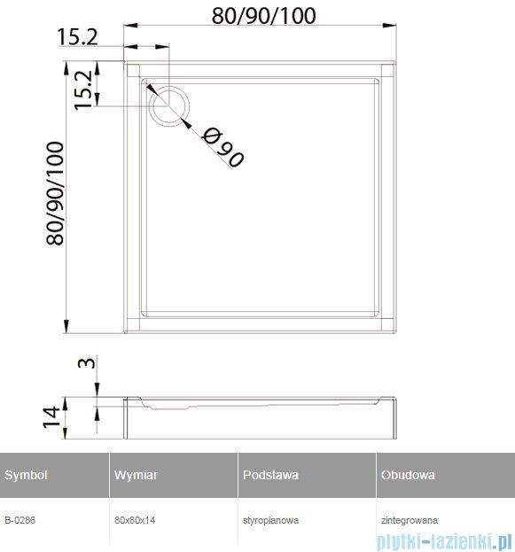 New Trendy Columbus brodzik kwadratowy zintegrowany 80x80x14cm B-0286