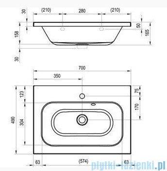 Ravak Umywalka Chrome 700 biała z otworami 70x49 cm XJG01170000