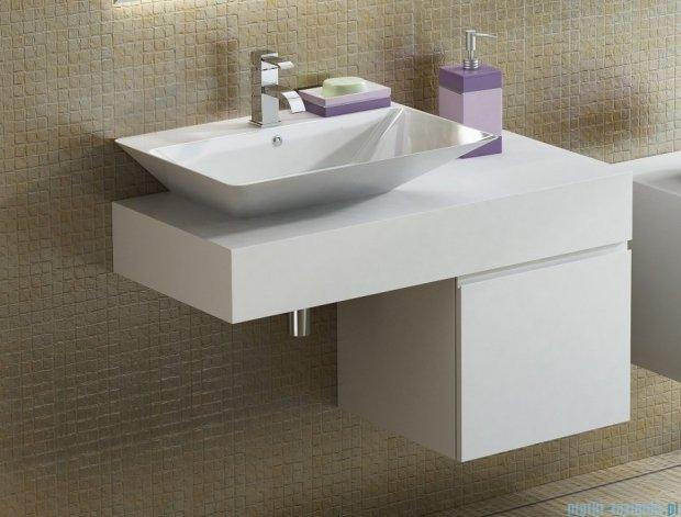Antado Combi szafka lewa z blatem lewym i umywalką Libra biały/jasne drewno ALT-141/45-L-WS/dn+ALT-B/3-1000x450x150-WS+UCS-TC-66