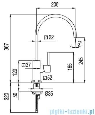 Tres Cuadro-Tres Bateria zlewozmywakowa wylewka 22x22 mm 1.30.497