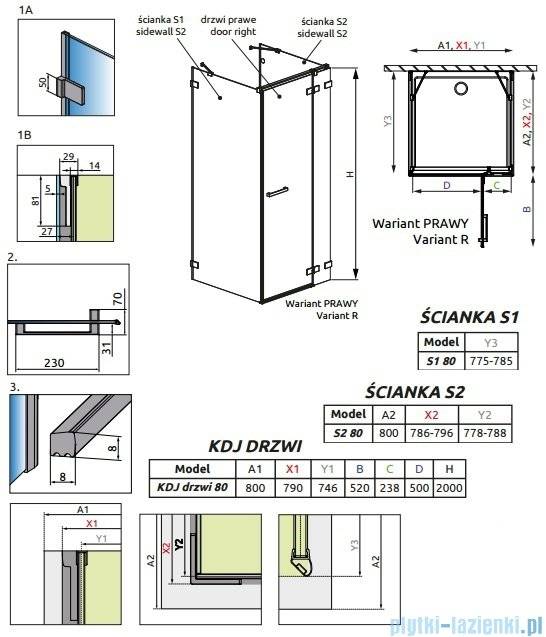 Radaway Euphoria KDJ+S Kabina przyścienna 80x80x80 prawa szkło przejrzyste 383021-01R/383051-01/383031-01