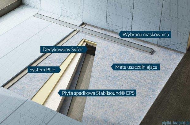 Schedpol brodzik posadzkowy podpłytkowy z odpływem Slim Lux Steel 130+50x90x5cm 10.113/OLSL