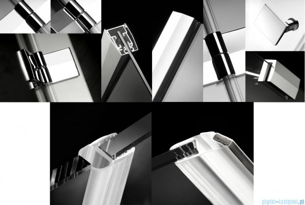 Radaway Kabina prysznicowa Almatea Kdj 80x100 lewa szkło przejrzyste + brodzik Doros D + syfon 32149-01-01NL