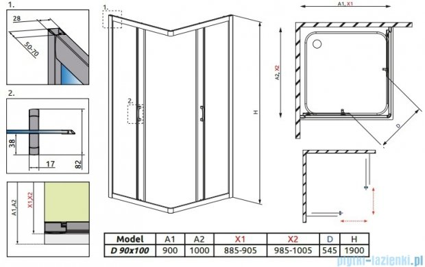 Radaway Premium Plus D Kabina prostokątna 90x100 szkło przejrzyste 30436-01-01N